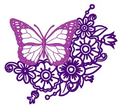 Butterfly & Floral Outline embroidery design