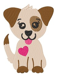 Kawaii Valentines Day Puppy embroidery design