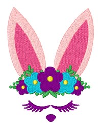 Kawaii Floral Easter Bunny embroidery design