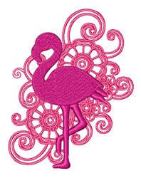 Floral Swirls Layered Flamingo embroidery design