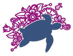 Sea Turtle & Flowers embroidery design