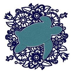 Floral Turtle Mandala embroidery design