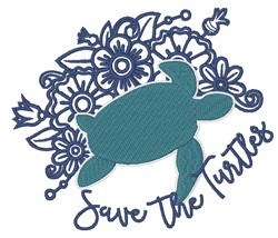 Save The Turtles Flowers embroidery design