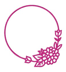 Floral Circle Frame embroidery design