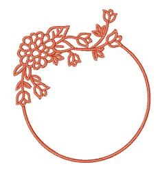 Circular Floral Frame embroidery design