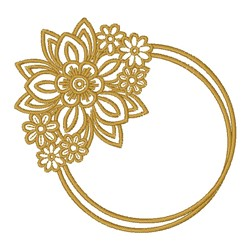 Circle Floral Frame embroidery design