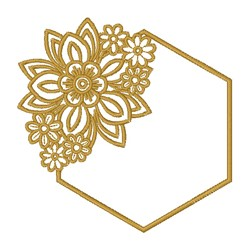 Floral Hexagon Frame embroidery design