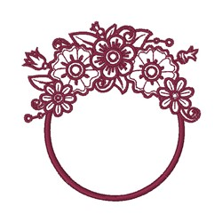 Beautiful Floral Frame embroidery design