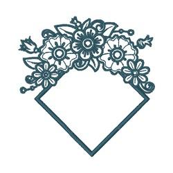 Diamond Floral Frame embroidery design