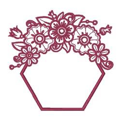 Floral Outline Hexagon Frame embroidery design