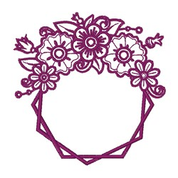 Double Floral Outline Hexagon embroidery design