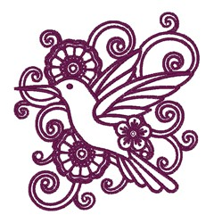Floral Hummingbird Outline embroidery design
