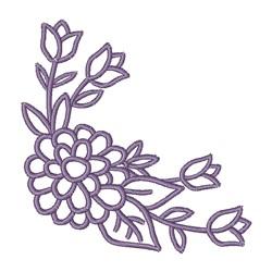 Corner Flower Outline embroidery design