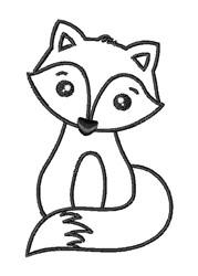 Kawaii Fox Outline embroidery design