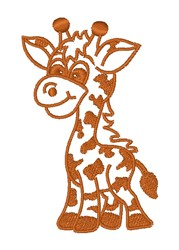 Kawaii Giraffe Outline embroidery design