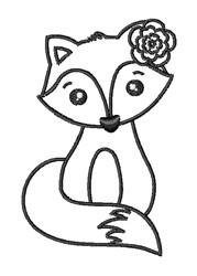 Kawaii Girl Fox Outline embroidery design