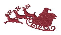 Santas Sleigh Silhouette embroidery design