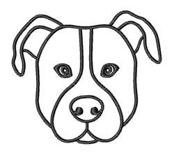 Pitbull Head Outline embroidery design