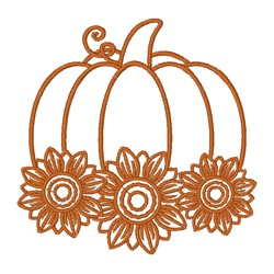Pumpkin & Sunflowers Outline embroidery design