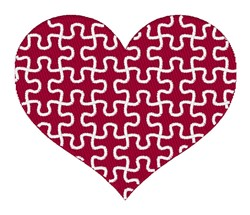 Puzzle Piece Heart embroidery design