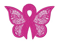 Awareness Ribbon Butterfly embroidery design