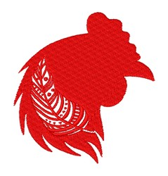 Rooster Silhouette & Feather embroidery design