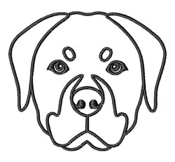Rottweiler Head Outline embroidery design