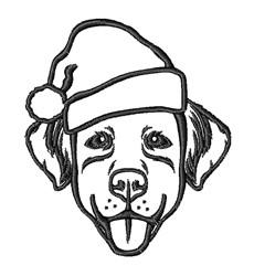 Santa Dog Outline embroidery design