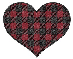 Buffalo Plaid Heart embroidery design