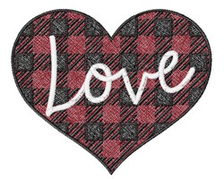 Plaid Love Heart embroidery design