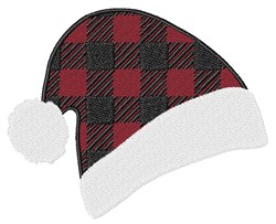 Plaid Santa Hat embroidery design