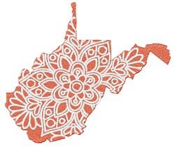 West Virginia Mandala embroidery design