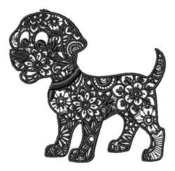 Floral Dog embroidery design