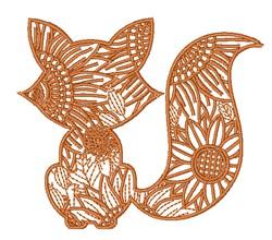 Flower Fox embroidery design
