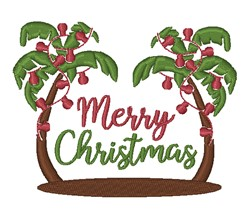 Merry Christmas Palm Trees embroidery design