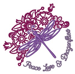 Peace Love Dragonflies embroidery design
