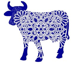 Cow Mandala embroidery design