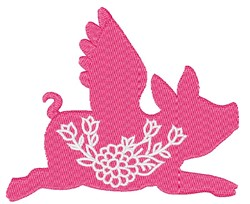 Flying Pig Flowers embroidery design