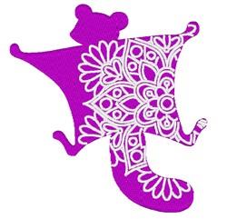 Flying Squirrel Mandala embroidery design