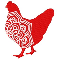 Hen Mandala embroidery design