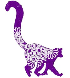 Lemur Mandala embroidery design