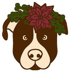 Christmas Dog Head embroidery design