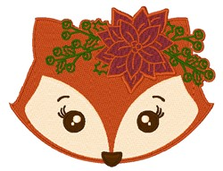 Christmas Fox Head embroidery design