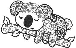 Koala Zentangle embroidery design