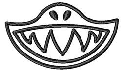 Shark Face Outline embroidery design