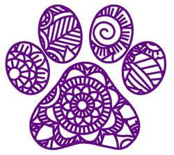 Mandala  Paw Print embroidery design