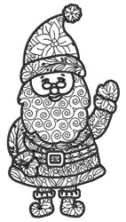 Santa Zentangle embroidery design