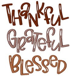 Thankful Grateful Blessed embroidery design