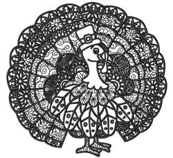 Turkey Zentangle embroidery design