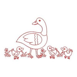 Redwork Duck & Ducklings embroidery design